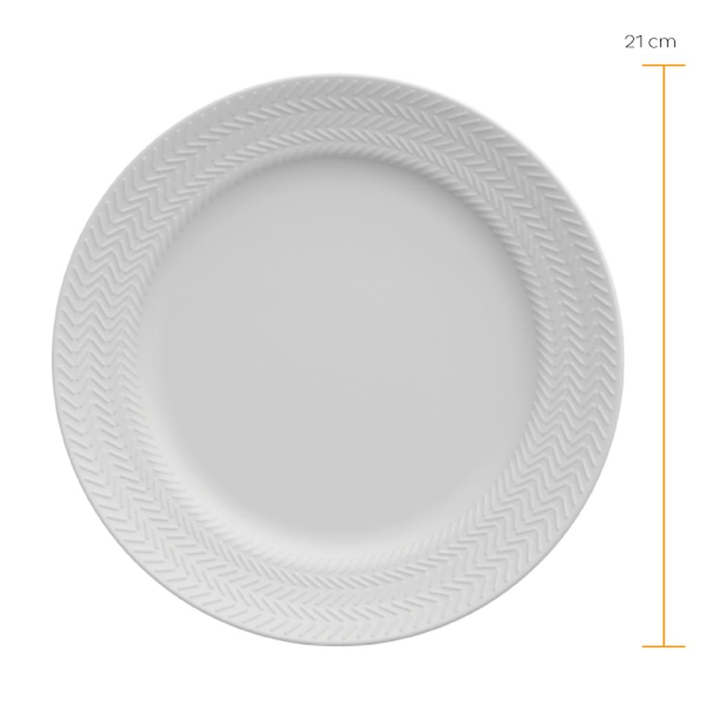 Jogo de Pratos de Sobremesa Brancos Porcelana Germer Chevron 6 Unidades