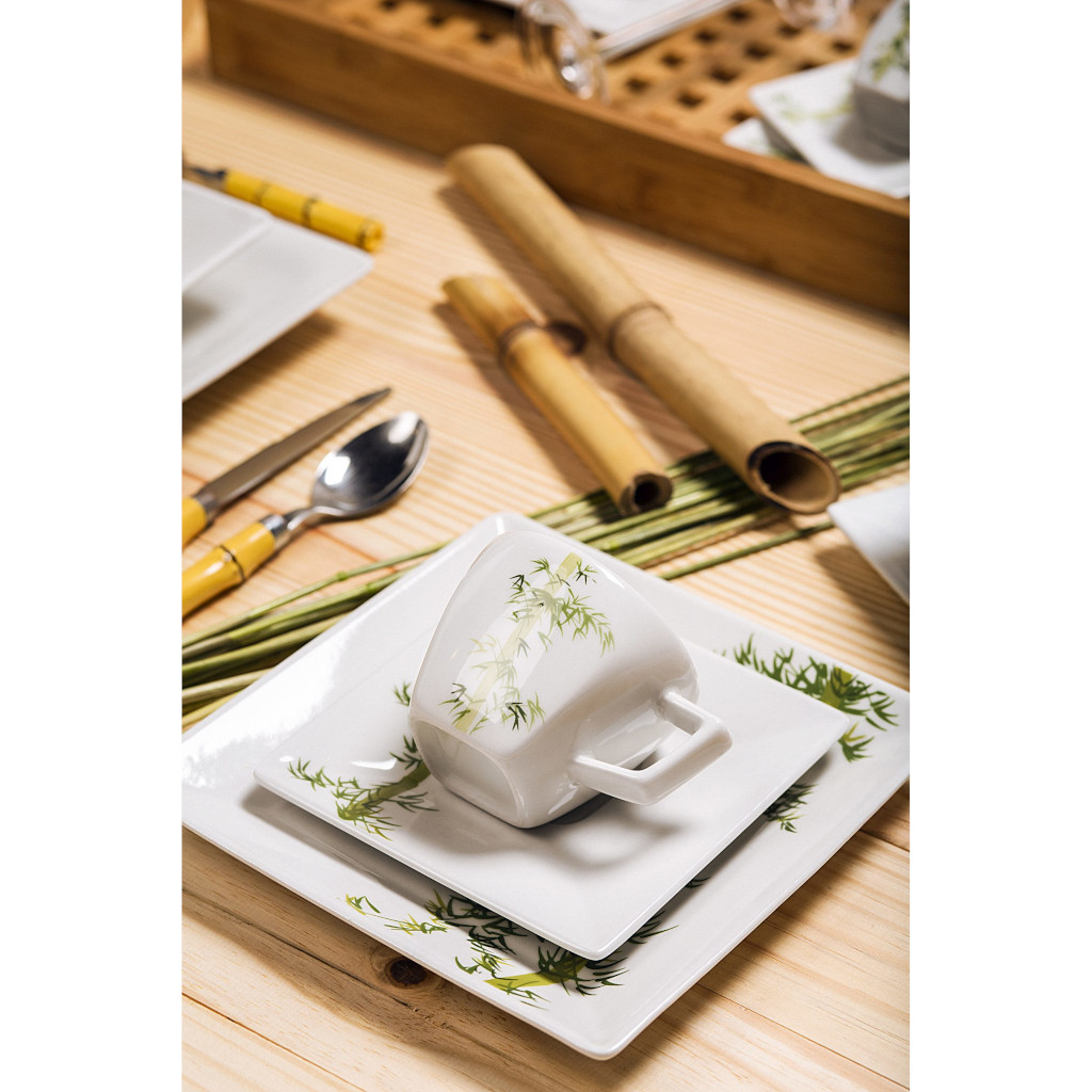 Jogo de Pratos de Sobremesa de Porcelana Oxford Bamboo 6 Unidades