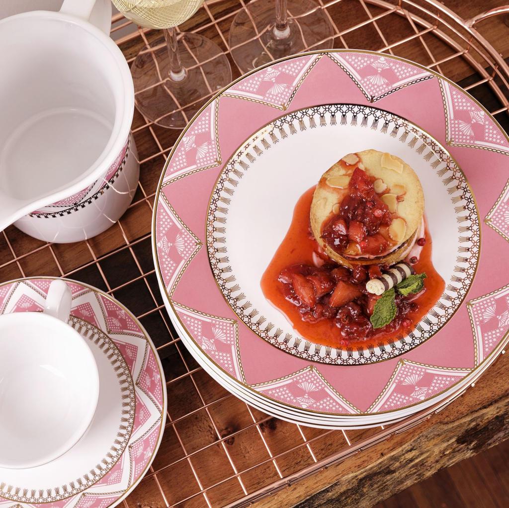 Jogo de Pratos de Sobremesa Porcelana Oxford Macramê 22cm 6 Unidades