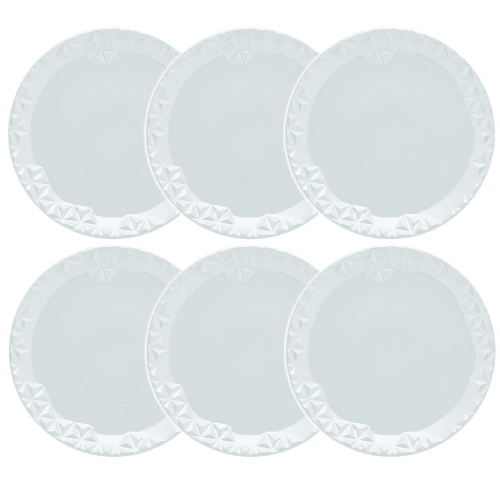 Jogo de Pratos de Sobremesa Porcelana Oxford Mia 6 Unidades - 21,0cm