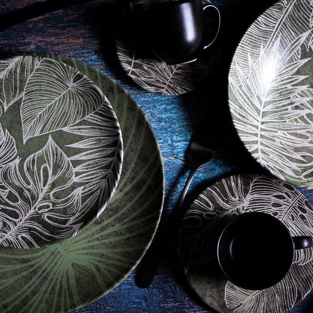 Jogo de Pratos de Sobremesa Porto Brasil Herbarium 6 Unidades