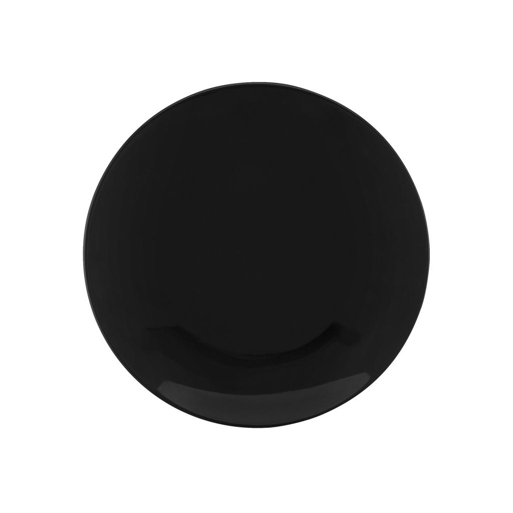 Jogo de Pratos de Sobremesa Pretos Porcelana Oxford Coup Black 6 Unidades