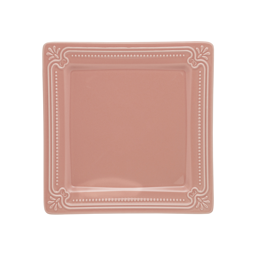 Jogo de Pratos de Sobremesa Rosa Porcelana Oxford Vintage 6 Unidades