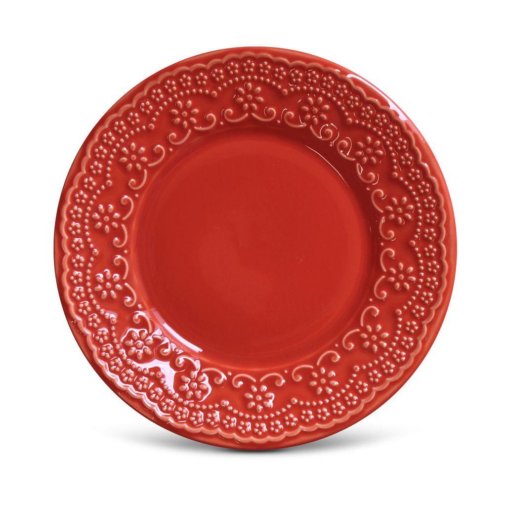 Jogo de Pratos de Sobremesa Vermelhos Madeleine Porto Brasil 12 Unidades