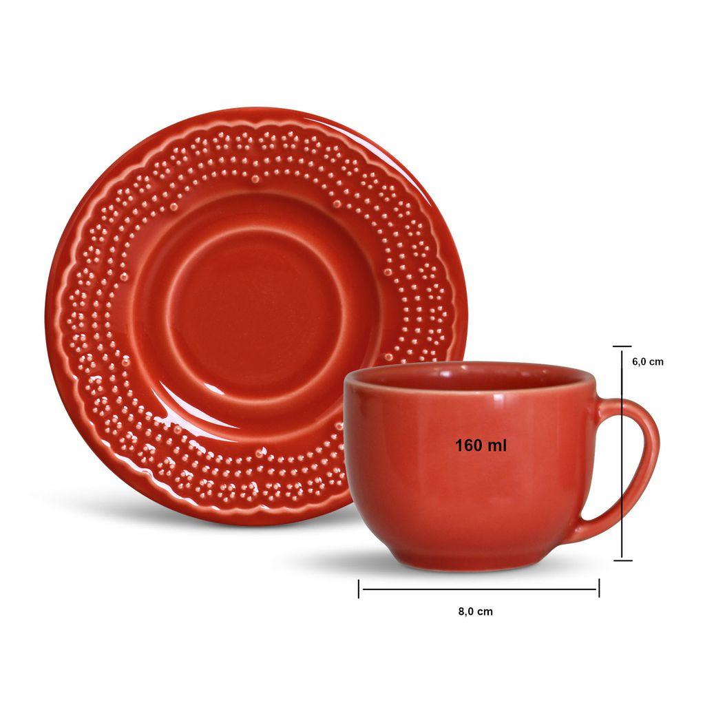 Jogo Porto Brasil Madeleine Vermelho Pratos Rasos de Sobremesa e Xícaras de Chá 6 Unidades cada