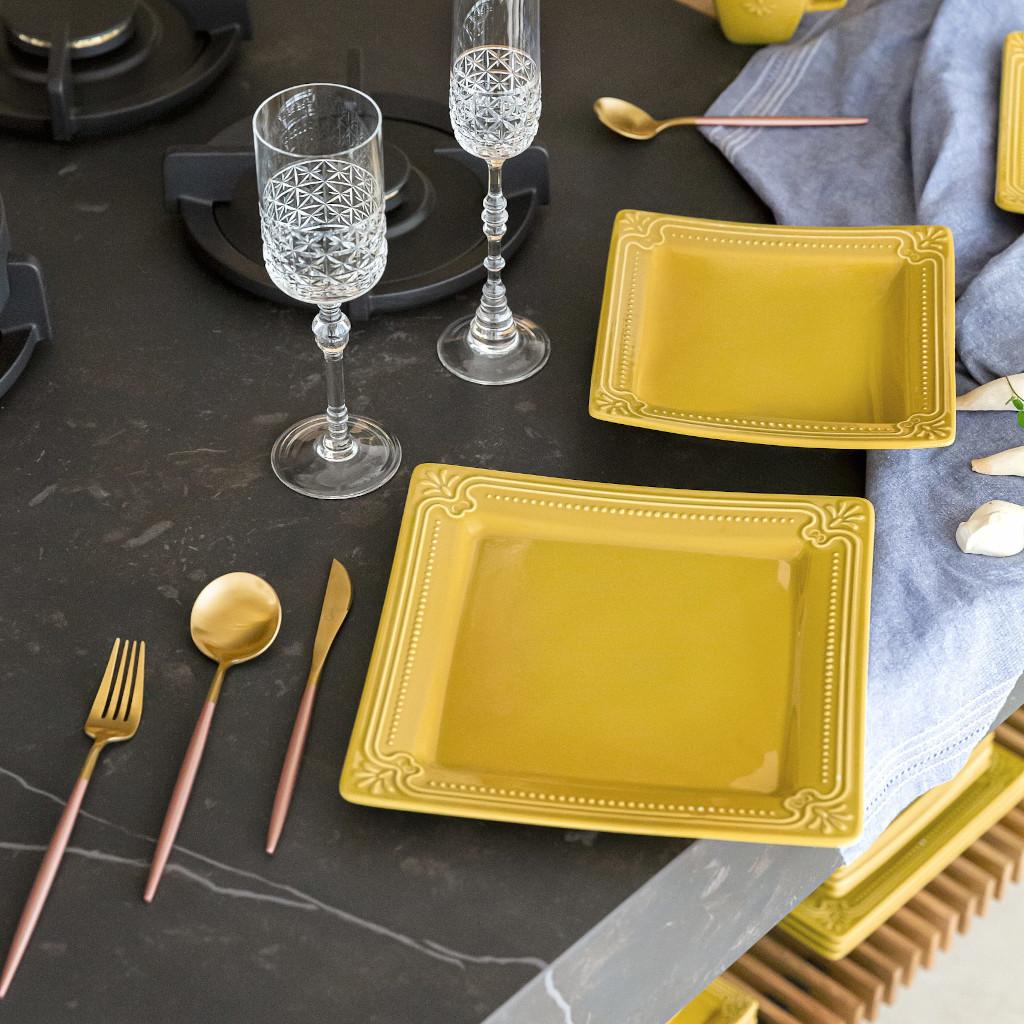 Jogo de Pratos Fundos Amarelo Mostarda Porcelana Oxford Minas 6 Unidades
