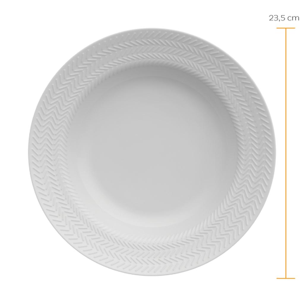 Jogo de Pratos Fundos Brancos Porcelana Germer Chevron 6 Unidades