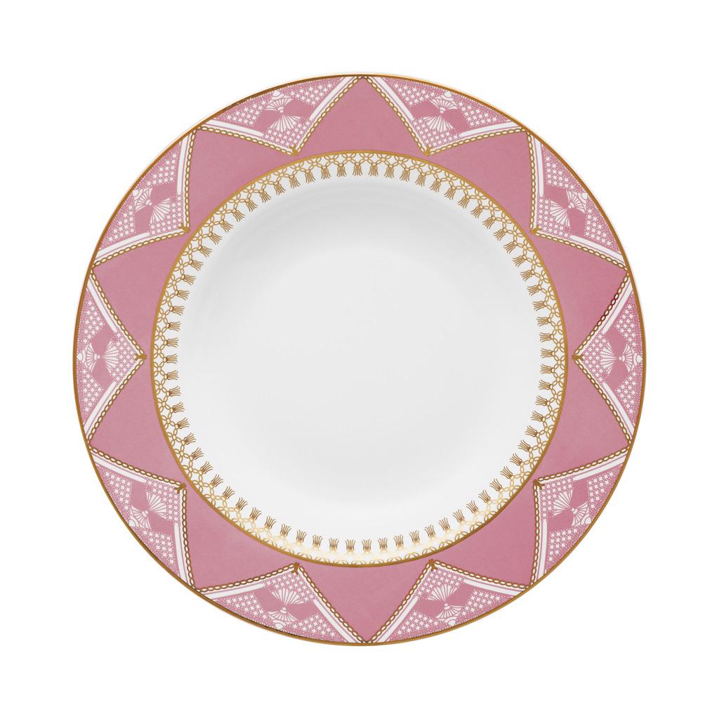 Jogo de Pratos Fundos Porcelana Oxford Macramê 23,5cm 6 Unidades