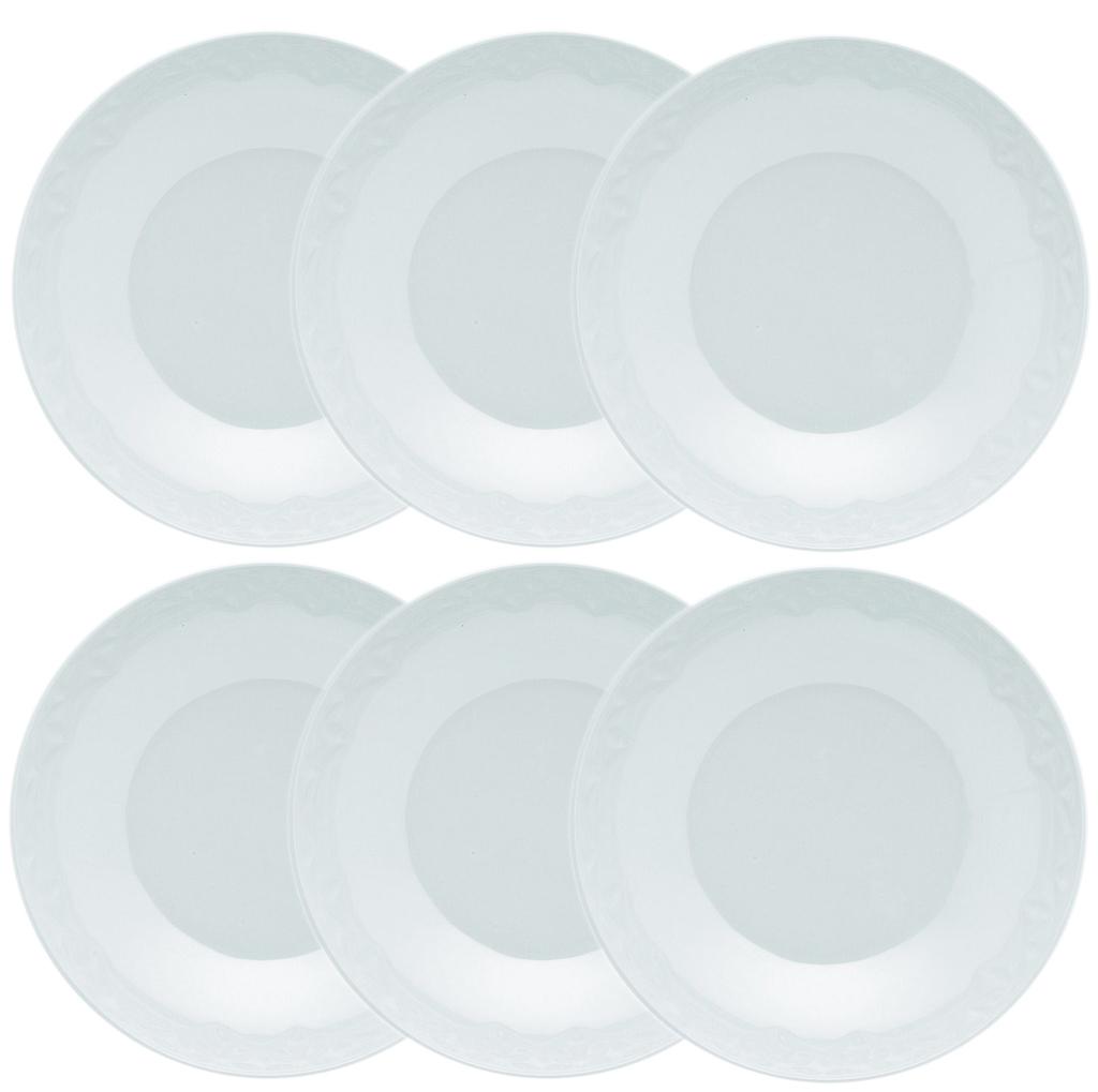 Jogo de Pratos Fundos Porcelana Oxford Mia 6 Unidades - 21,0cm
