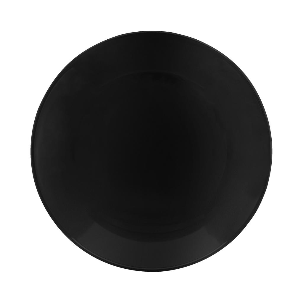 Jogo de Pratos Fundos Pretos Porcelana Oxford Coup Black 6 Unidades
