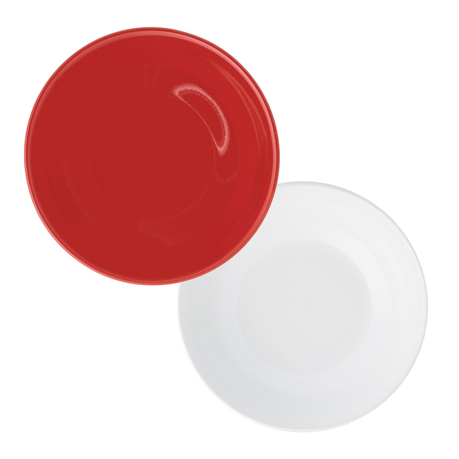 Jogo de Pratos Fundos Vermelho e Branco Oxford 20,5cm 6 Unidades