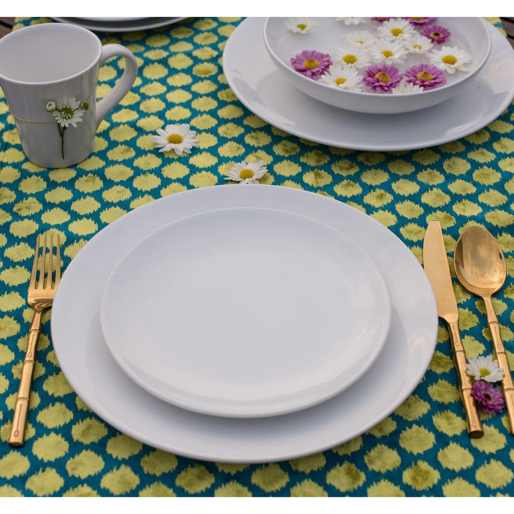 Jogo de Pratos Rasos e Sobremesa Porcelana Oxford Coup White 6 Unidades