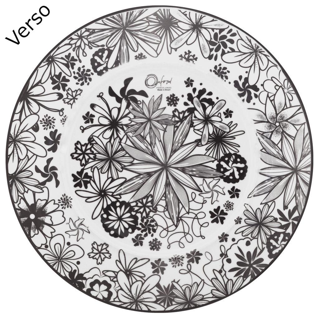Jogo de Pratos Rasos e Sobremesa Porcelana Oxford Floresta Negra 6 Unidades