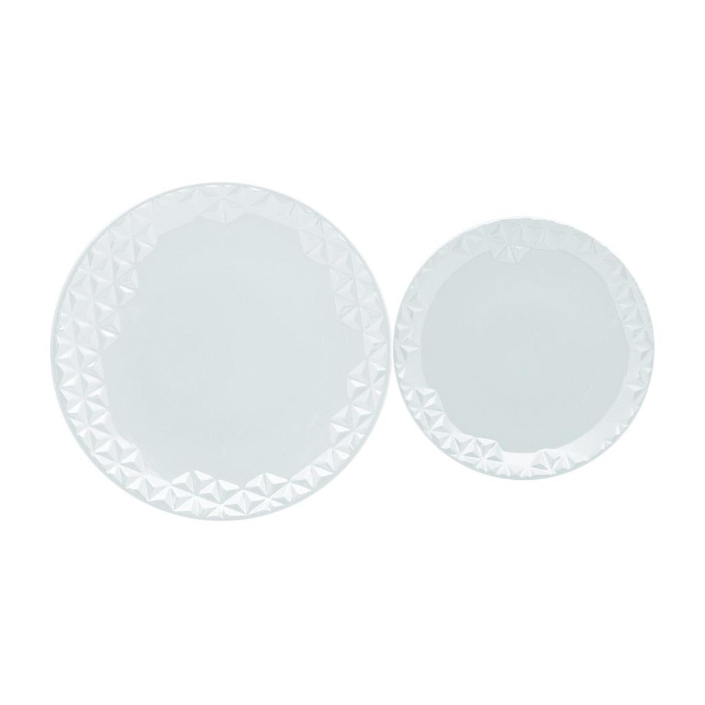 Jogo de Pratos Rasos e Sobremesa Porcelana Oxford Mia 6 Unidades