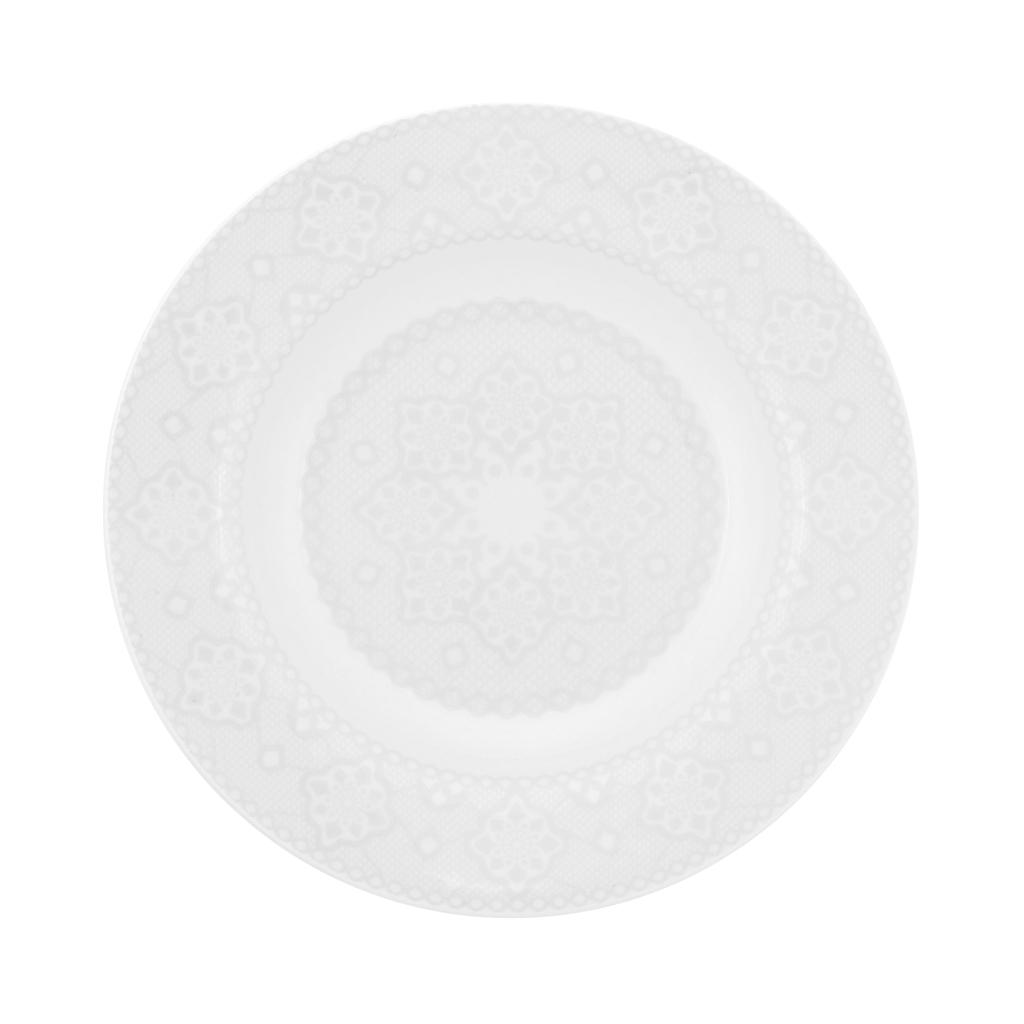 Jogo de Pratos Rasos Fundos e Sobremesa Porcelana Oxford Dress 6 Unidades