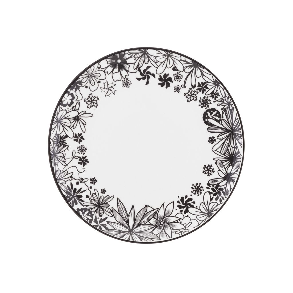 Jogo de Pratos Rasos Fundos e Sobremesa Porcelana Oxford Floresta Negra 6 Unidades