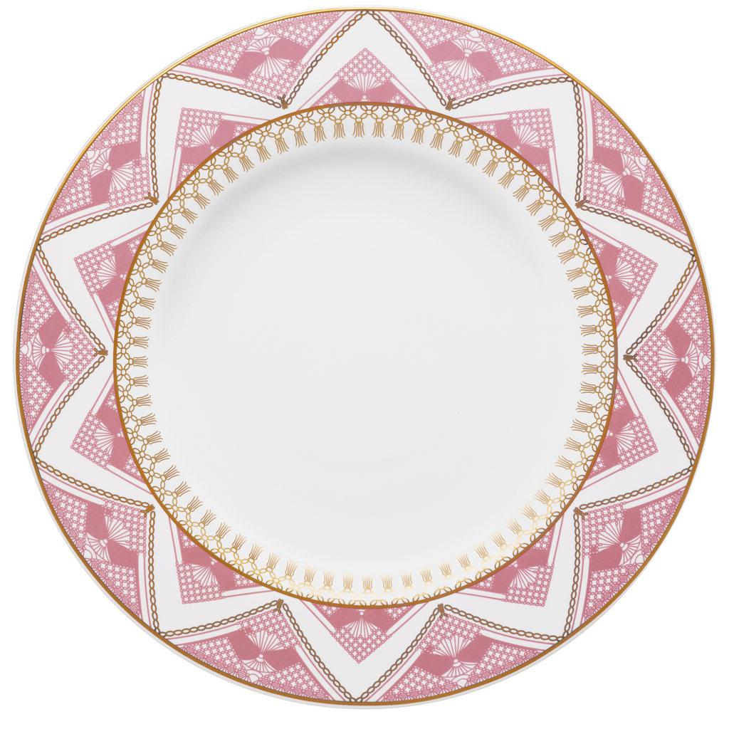 Jogo de Pratos Rasos Fundos e Sobremesa Porcelana Oxford Macramê 6 Unidades