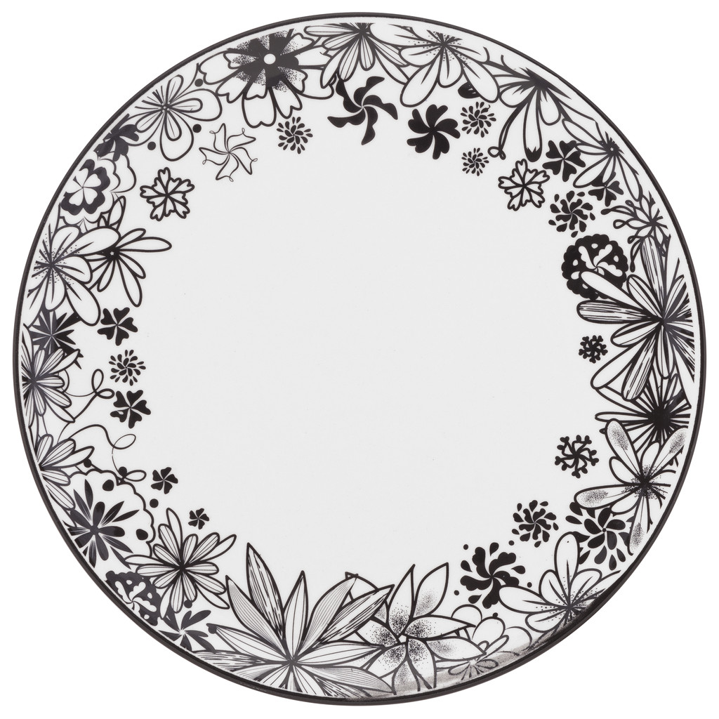 Jogo de Pratos Rasos Porcelana Oxford Floresta Negra 6 Unidades