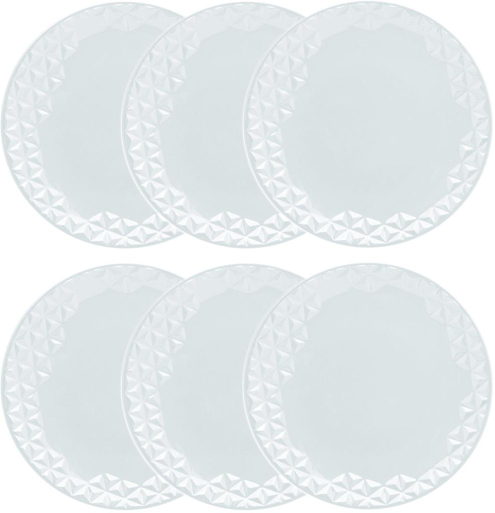 Jogo de Pratos Rasos Porcelana Oxford Mia 6 Unidades - 28,5cm