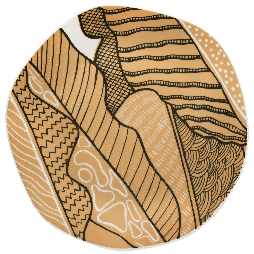 Jogo de Pratos Rasos Porcelana Oxford Ryo Raízes 6 Unidades
