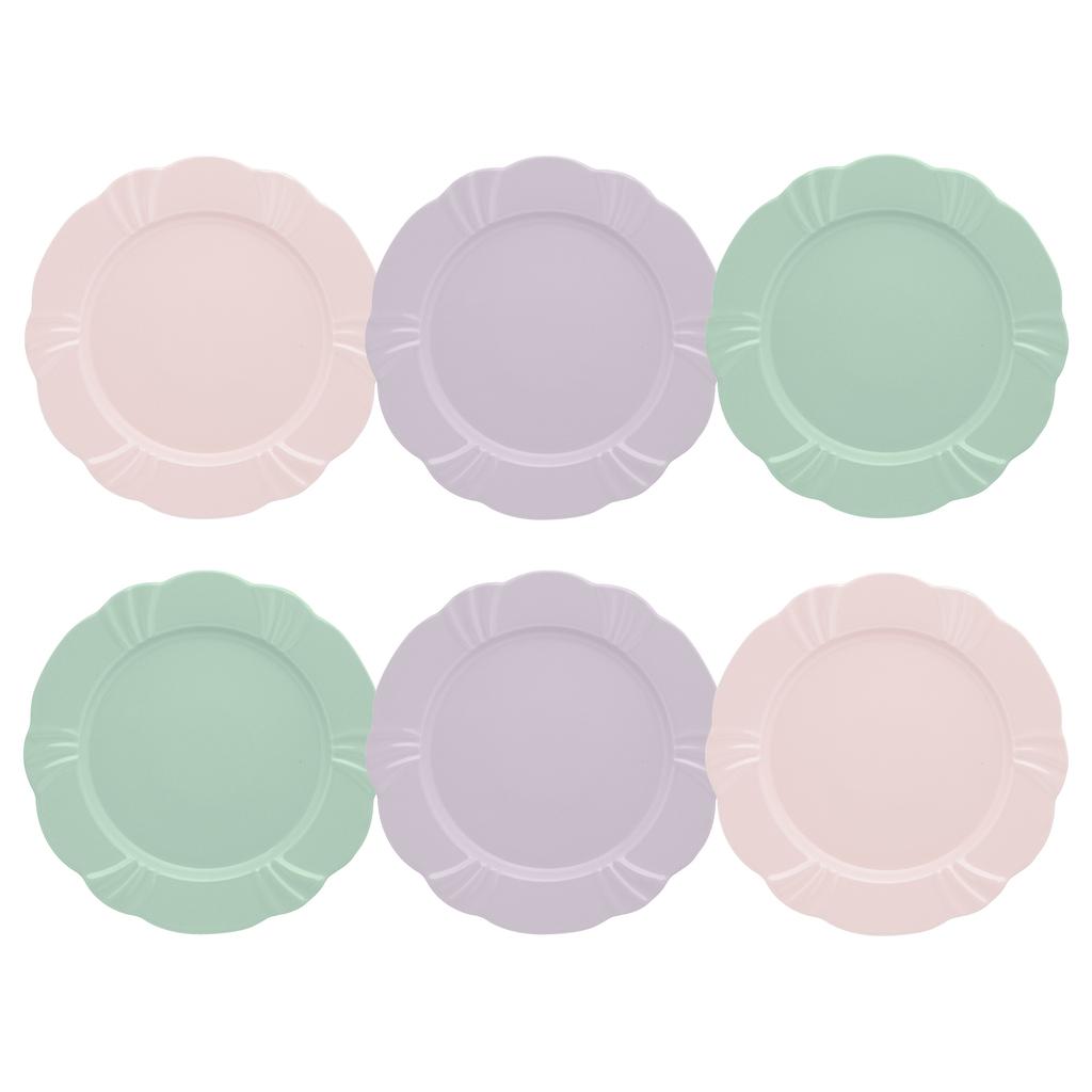 Jogo de Pratos Rasos Porcelana Oxford Soleil 6 Unidades