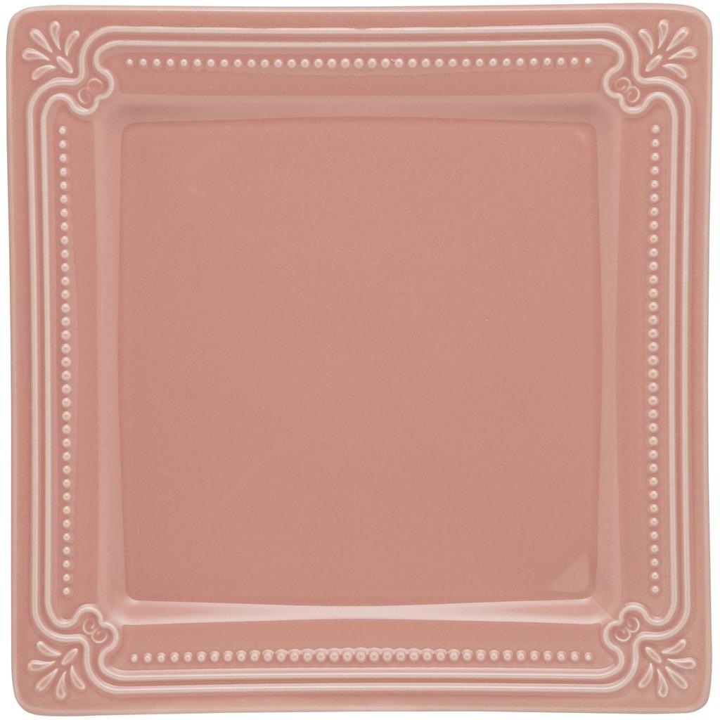 Jogo de Pratos Rasos Rosa Porcelana Oxford Vintage 6 Unidades