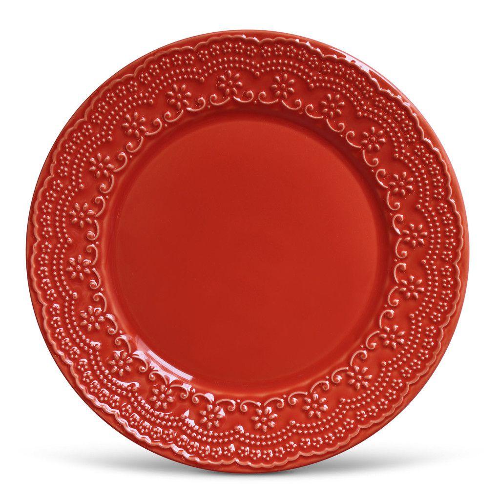 Jogo de Pratos Vermelhos Rasos e de Sobremesa Porto Brasil Madeleine 12 unidades de cada tipo