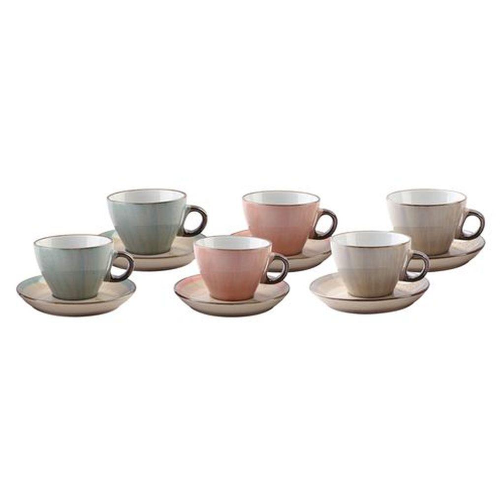 Jogo de Xícaras de Café de Porcelana Bon Gourmet Watercolor 80 ml 6 unidades