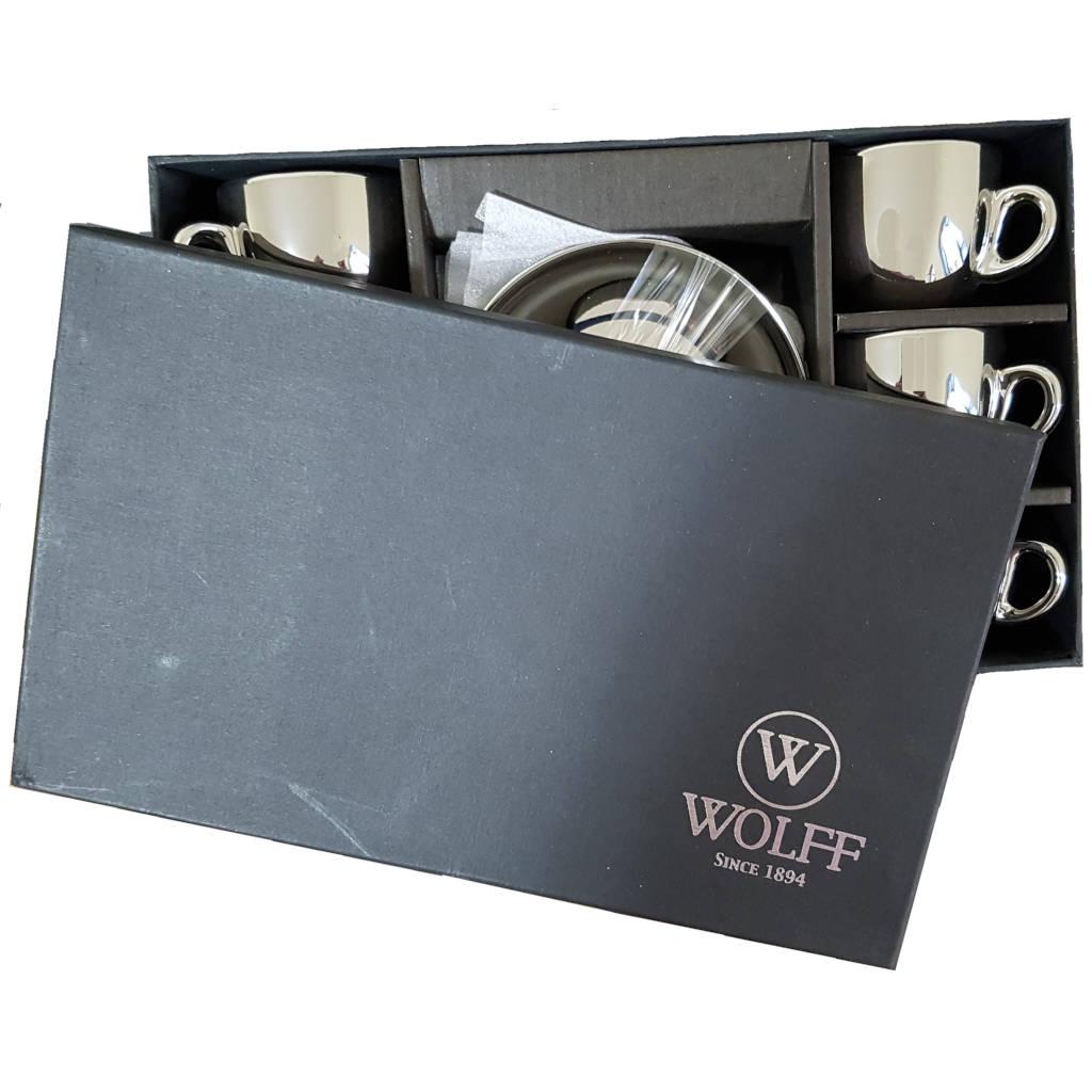 Jogo de Xícaras de Café de Porcelana Prata e Branco Wolff Versa 90 ml 6 unidades