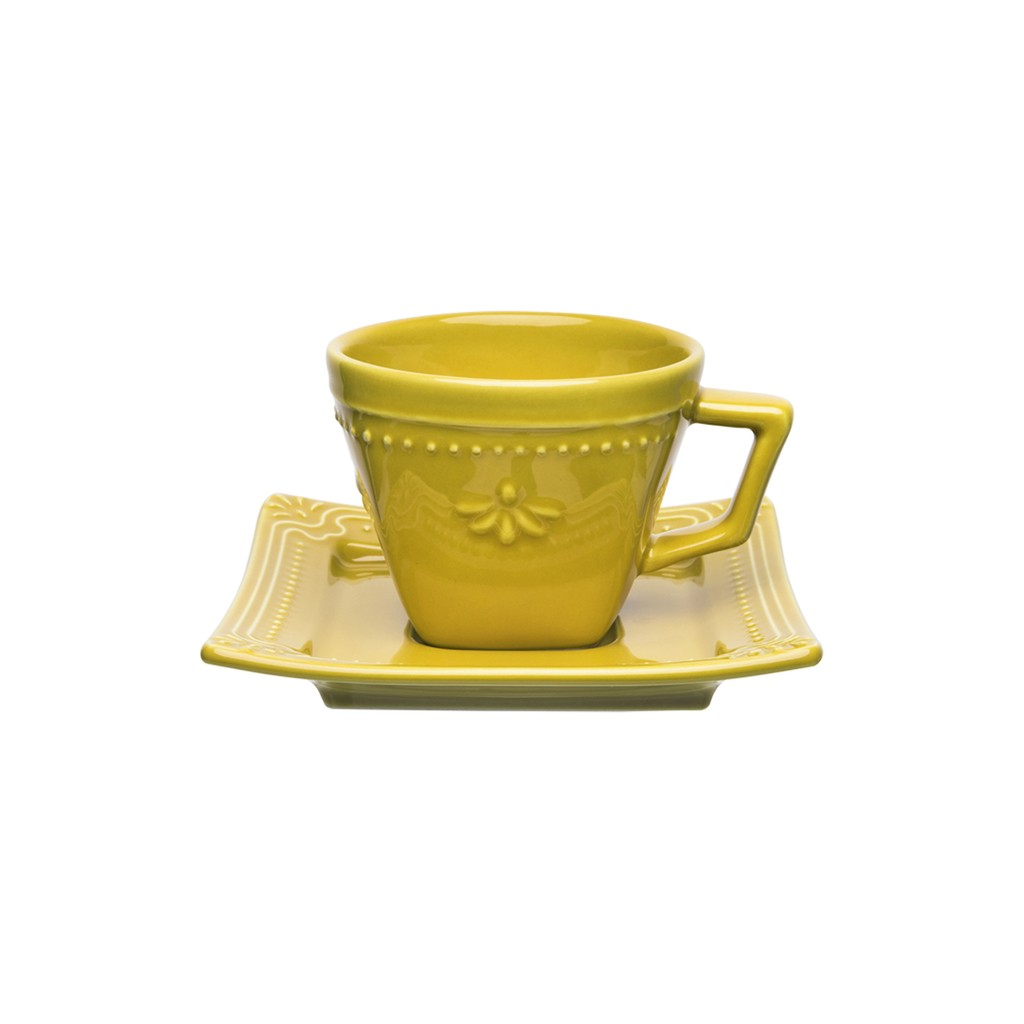 Jogo de Xícaras de Cafezinho Amarelo Mostarda Porcelana Oxford Minas 65ml 6 Unidades