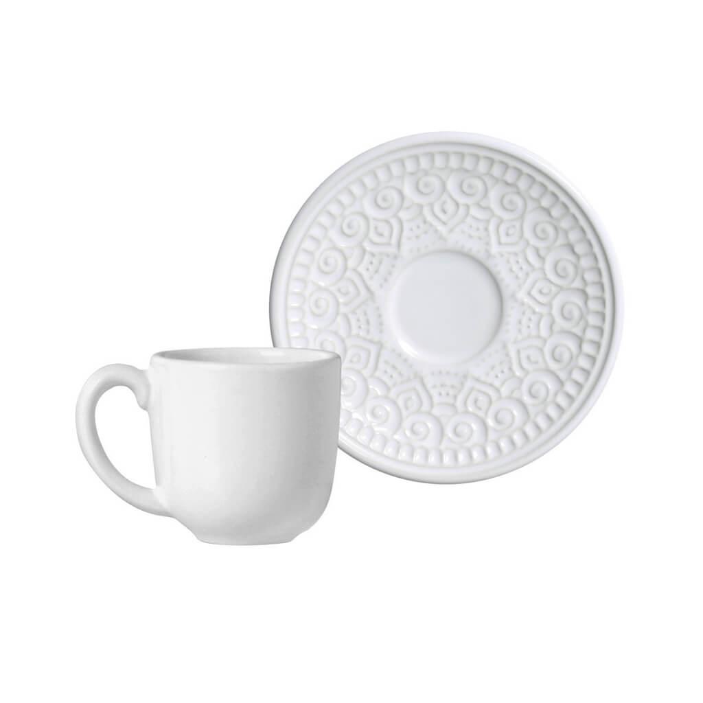 Jogo de Xícaras de Cafezinho Branco Agra - 94 ml - 6 Unidades