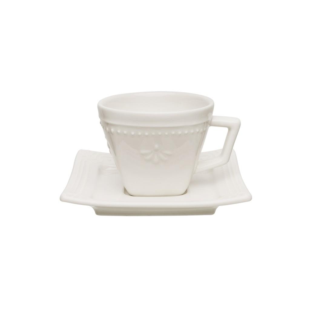 Jogo de Xícaras de Cafezinho Cru Porcelana Oxford Brulee 65ml 6 Unidades