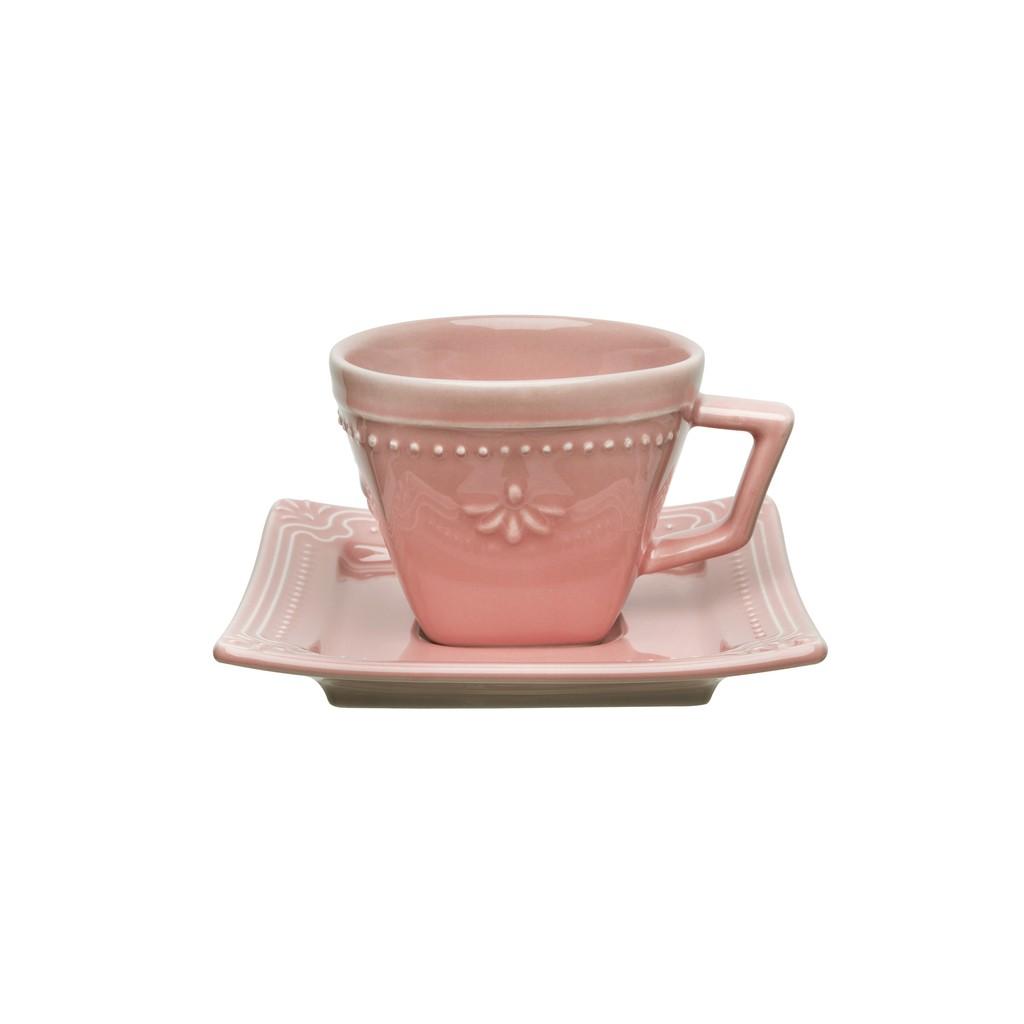 Jogo de Xícaras de Cafezinho Rosa Porcelana Oxford Vintage 65ml 6 Unidades
