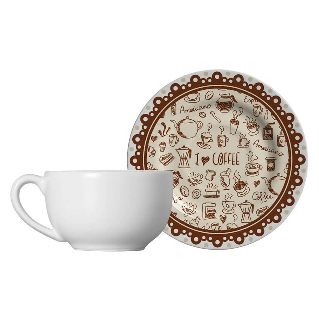 Jogo de Xícaras de Chá Alleanza Coffee 6 Unidades