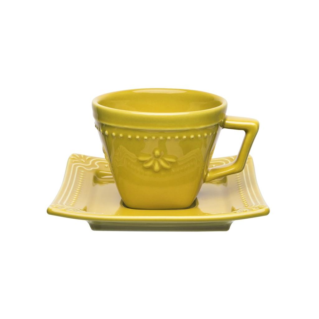 Jogo de Xícaras de Chá Amarelo Mostarda Porcelana Oxford Minas 200ml 6 Unidades