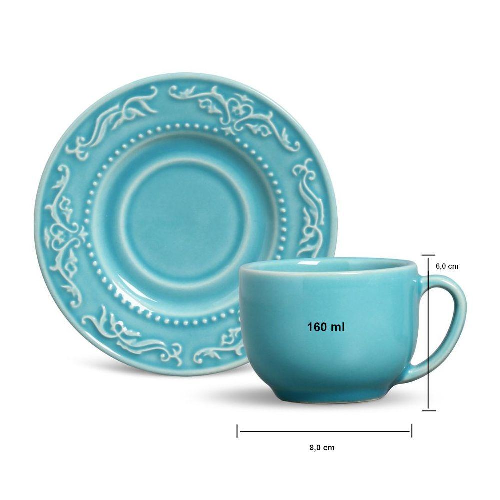Jogo de Xícaras de Chá Azul Poppy Acanthus 6 Unid 160 ml não são grandes, mas são um encanto!