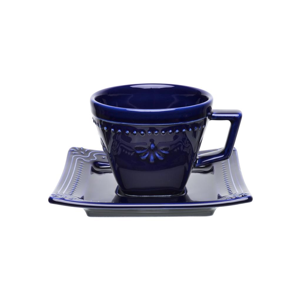 Jogo de Xícaras de Chá Azul Royal Porcelana Oxford 200ml 6 Unidades