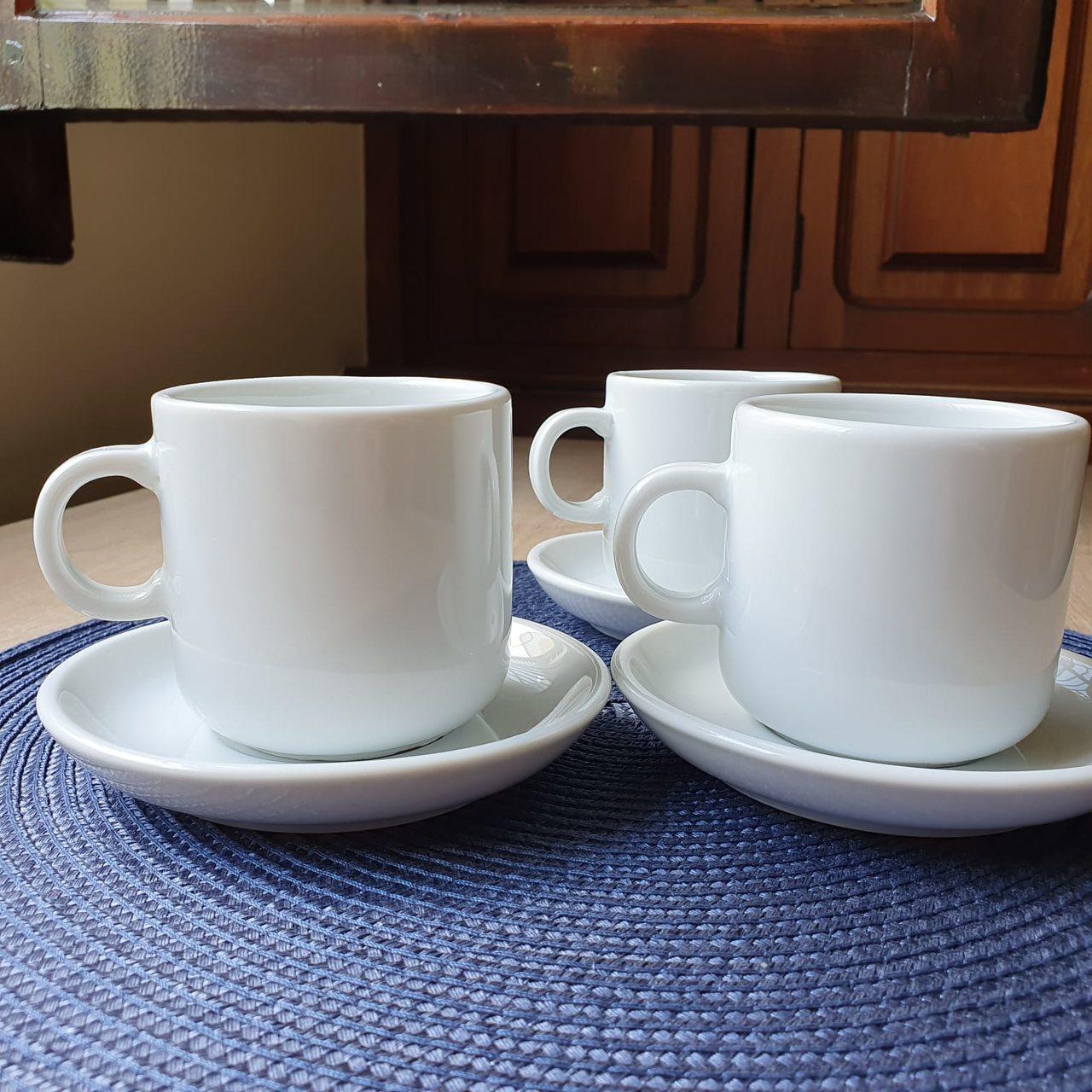 Jogo de Xícaras de Chá Brancas Bold Porcelana Germer 220ml 6 Unidades