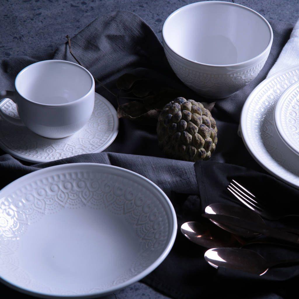 Jogo de Xícaras de Chá Branco Agra 6 Unidades