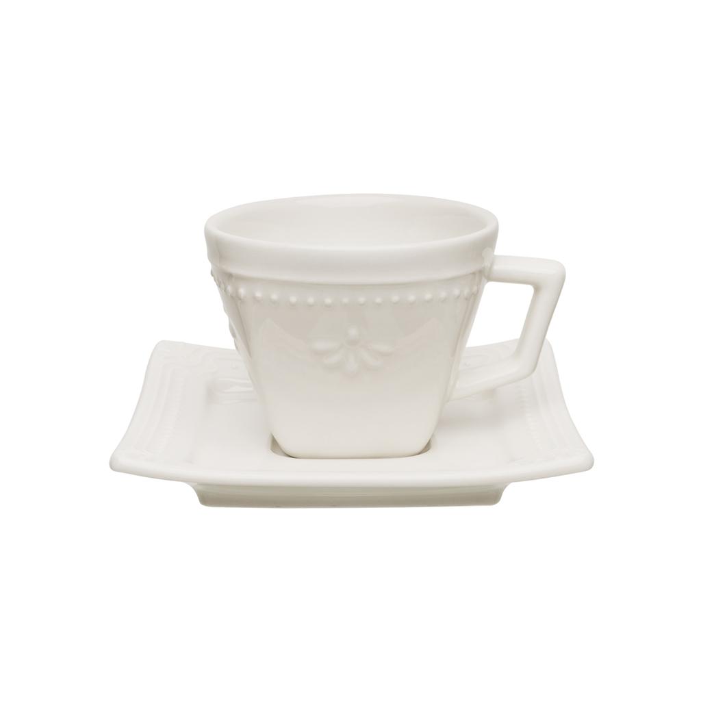 Jogo de Xícaras de Chá Cru Porcelana Oxford Brulee 200ml 6 Unidades