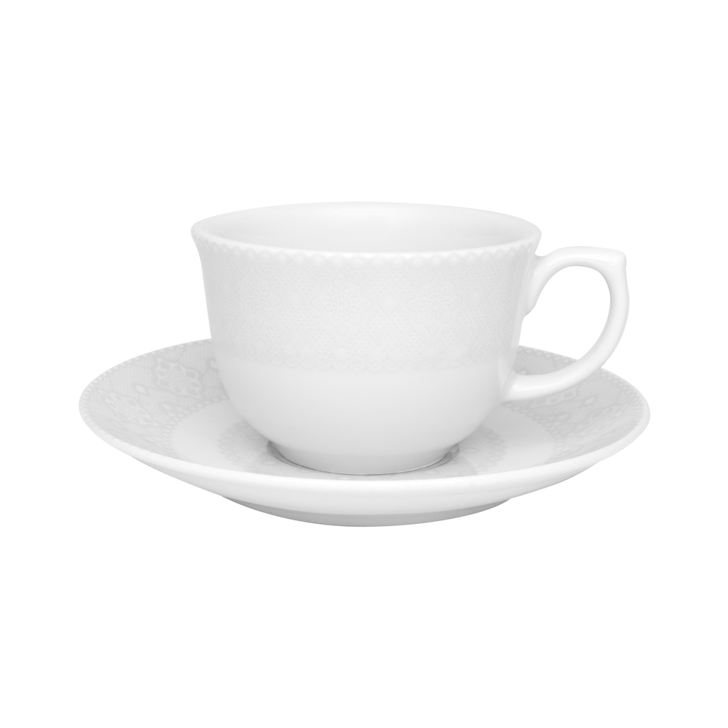 Jogo de Xícaras de Chá Porcelana Oxford Dress 6 Unidades