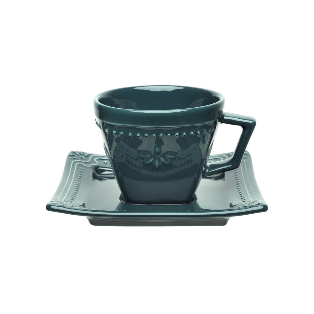 Jogo de Xícaras de Chá Porcelana Oxford Verde Comté 200ml 6 Unidades