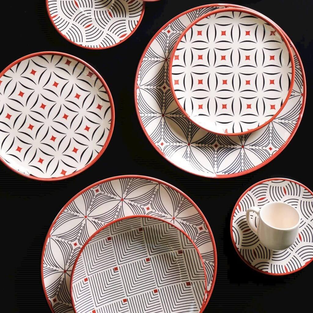 Jogo de Xícaras De Chá Porto Brasil Geometria 6 Unidades