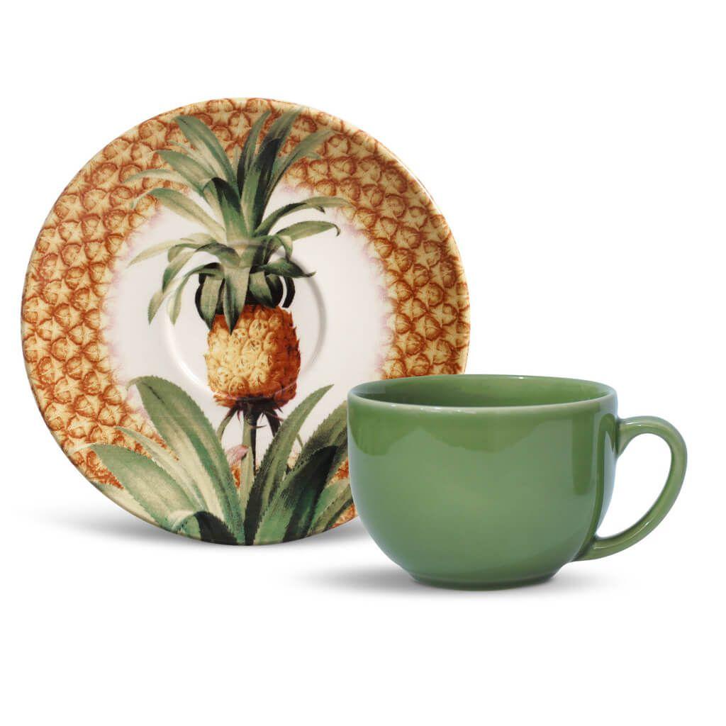Jogo de Xícaras de Chá Porto Brasil Pineapple Império 6 Unidades.