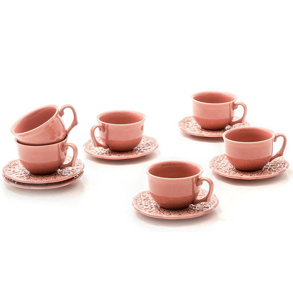 Jogo de Xícaras de Chá Rita Lobo Marrakech Pimenta Rosa 6 Unidades