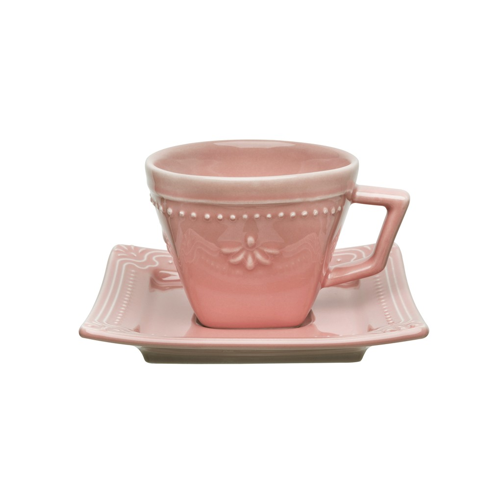 Jogo de Xícaras de Chá Rosa Porcelana Oxford Vintage 200ml 6 Unidades