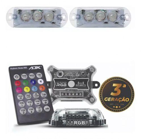 Kit Strobo RGB AJK Sound Rítimico - 8 Cores com Controle