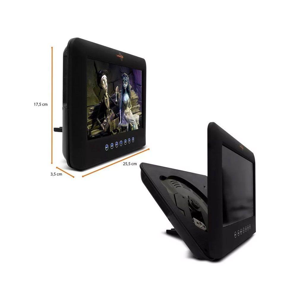 """Tela Acoplável LCD 9"""" com Leitor DVD Kx3"""
