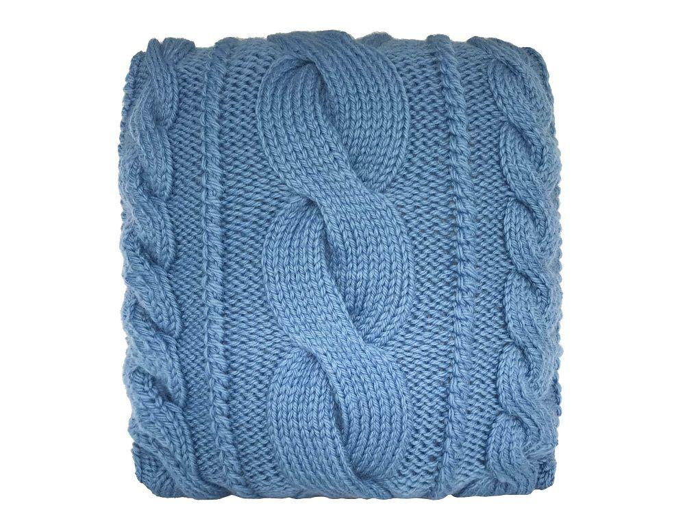 Almofada Decorativa Cheia de Tricô Azul Trança Grande 40x40cm