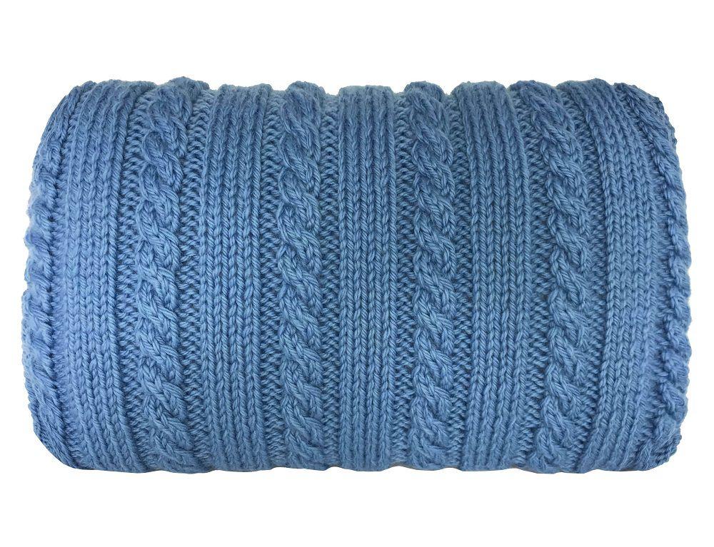 Almofada Decorativa Cheia de Tricô Azul Trançada 42x25cm